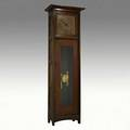 L and jg stickley grandfather clock with etched copper face unmarked 80 x 25 12 x 14 34