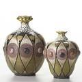 Riessner stellmacher  kessel two amphora porcelain vases in gresbijou light wear to gold around rim on smaller both stamped amphora crown taller 2029 41 smaller 686 41 6 and 7 12