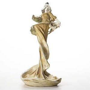 Riessner stellmacher  kessel large amphora porcelain figurine of maiden with cala lily c 1896 small chip to back of sleeve and light wear to gold stamped amphora austria crown imperial amphora