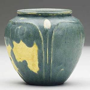 Grueby bluegrey cabinet vase with ivory buds uneven firing some glaze misses scratched circular stamp er paper label 3 34 x 4 14
