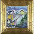 Joseph barrett american b 1936 creek house oil on canvas in artist frame signed 14 x 14 provenance private collection pennsylvania