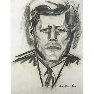 Elaine de kooning american 19181989 two works of art untitled john f kennedy 1963 two charcoal on paper both signed and dated 25 78 x 19 sheet and 24 x 18 sheet provenance pri