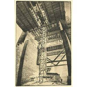 Gottlob l briem american 18991972 three etchings excavation on wall st nyc 1935 signed dated titled and numbered 14 78 x 9 12 image tower washington bridge nyc signed and