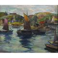 Fern isabel coppedge american 18831951 fishing boats gloucester oil on canvas framed signed 20 x 24 provenance jims of lambertville lambertville nj private collection new hope pa