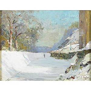 William francis taylor american 18831970 canal in winter oil on board framed signed 8 x 10 provenance jims of lambertville lambertville nj label on verso private collection new je