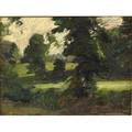 Thomas pollack anshutz american 18511912 four works of art untitled landscape with large dark trees ca 18951911 oil on board framed 7 12 x 10 untitled tree with field ca 189519