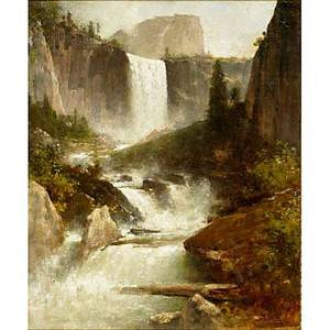 Thomas hill american 18291908 vernal falls yosemite 1899 oil on canvas framed signed and dated 24 x 20 provenance private collection new jersey