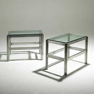 Jens risom pair of rare aluminum side tables with plate glass tops unmarked 23 14 x 29 12 x 18
