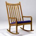 Hans wegner teak rocker with pierced slats 41 12 x 25 x 29 12