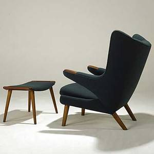 Hans wegner ap stolen papa bear chair and ottoman both marked with ink stamps chair 38 12 x 35 12 x 34 ottoman 16 x 27 12 x 16