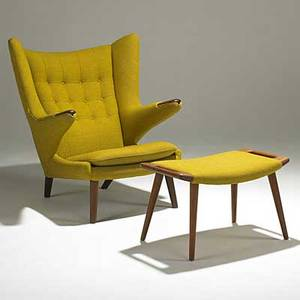 Hans wegner ap stolen teak papa bear chair and ottoman in original wool upholstery ottoman stamped danish control metal tag chair 39 x 36 x 36 ottoman 16 12 x 27 34 x 16 12