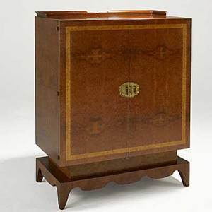 Andrew szoeke attr fine burlwood and bronze cabinet with drawers and shelves numbered on back 20679 48 x 36 x 20 14