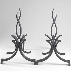 Raymond subes pair of castiron andirons unmarked 15 34 x 9 x 20