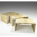Parchment set of three natural parchment nesting tables unmarked largest 20 x 43 12 x 27 12