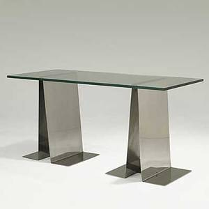 Raphael polished stainless steel console table with plate glass top unmarked 30 14 x 63 x 25 12