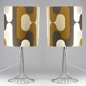 Style of verner panton pair of chromed steel table lamps with original cloth shades unmarked 36 x 17 dia