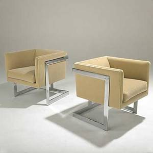 Milo baughman thayer coggin unusual pair of chromed steel tback club chairs knoll mohair fabric both with fabric label 26 x 24 12 x 25