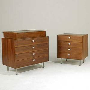 George nelson herman miller two walnut thin edge dressers and hanging vanity unmarked largest 27 12 x 34 x 18 12 smaller 24 wide vanity 4 34 x 30 x 18 14