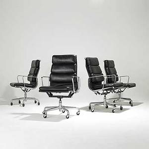 Charles and ray eames herman miller four tallback black leather soft pad armchairs unmarked as shown 41 x 23 x 23 12