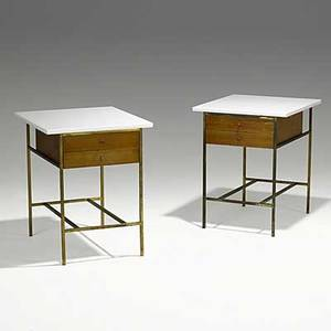 Paul mccobb calvin pair of walnut and brass end tables with rare white glass tops metal tag 25 x 20 x 22
