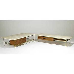 Paul mccobb calvin two brass walnut and travertine low tables each with metal tags 16 12 x 66 x 32 and 15 12 x 72 x 24