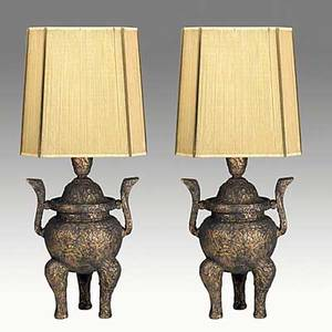 James mont pair of table lamps with metallic polychrome finish and string shades unmarked base 21 x 14