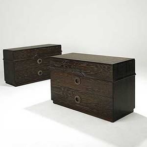 James mont pair of cerused oak dressers branded james mont design 31 12 x 48 x 20 12