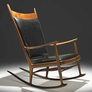 Sam maloof fine walnut and ebony rocking chair black leather upholstery c 1970 carved signature 44 12 x 28 x 43 12