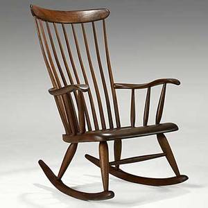 Robert whitley fine walnut windsor rocker c 1960 inscribed an original furniture design by robert c whitley solebury bucks county pa 40 12 x 27 x 32