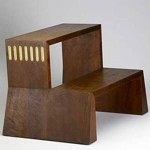 Wendell castle cherry step stool with gold leaf and nail head details 1982 signed and dated 16 x 22 12 x 16 12