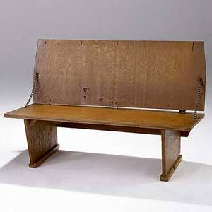 Frank lloyd wright plywood bench 1951 provenance meeting house first unitarian society madison wisconsin branded mark flw 51 27 12 x 42 x 21