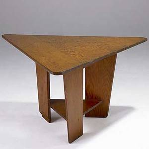 Frank lloyd wright triangular plywood table 1951 provenance meeting house first unitarian society madison wisconsin 24 34 x 39 14 x 46 14