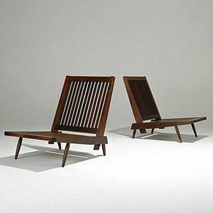 George nakashima pair of walnut cushion chairs unmarked 30 x 23 x 33