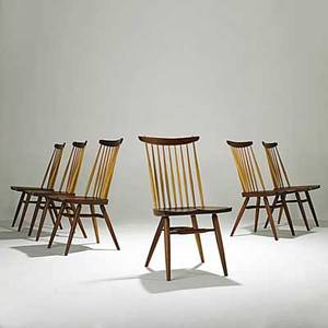 George nakashima set of six walnut and hickory new chairs signed with clients name 36 x 18 12 x 21
