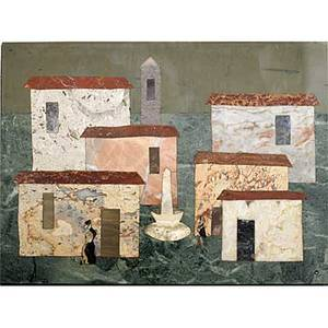 Richard blow montici pietra dura composition of a village framed 1956 montici cipher signed made in italy fralassini 1956viii plaque 7 14 x 9 34