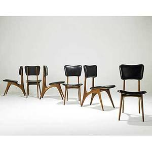 Vladimir kagan six walnut and black leather dining chairs kagandreyfuss factory tags 34 x 17 12 x 26