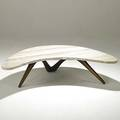 Vladimir kagan walnut and limestone boomerang cocktail table unmarked 13 x 55 x 33