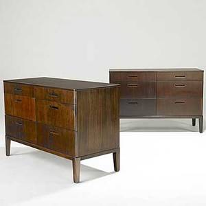 Edward wormley dunbar two mahogany chests of drawers stamped dunbar 32 x 48 x 21