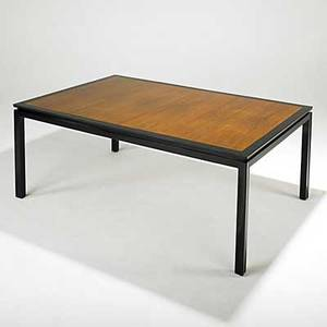 Edward wormley dunbar walnut and lacquered mahogany dining table two 24 leaves and center leg brass dunbar tag closed 29 34 x 66 14 x 44 12