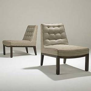 Edward wormley dunbar pair of lounge chairs darkstained wood bases brass dunbar tag 32 x 23 x 32
