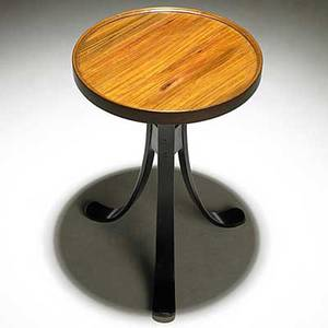 Edward wormley dunbar drink stand with tawi and mahogany top mahogany base brass tag 19 x 13 dia