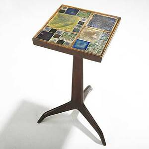Edward wormley dunbar tiffany exceptional mahogany janus side table with tiffany favrile glass tiles and brass sabots brass dunbar tag 23 14 top 10 14 sq