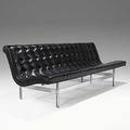 Katavolos littel  kelley laverne large leather and chromed steel armless sofa c 1950 provenance yamasaki architectural offices yamasaki inventory tags 28 12 x 102 x 27