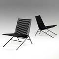 Allan gould pair of string and enameled steel lounge chairs unmarked 29 14 x 20 x 24