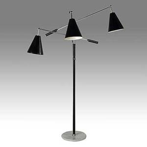 Arredoluce chromeplated brass enameled steel threearm floor lamp on marble base c 1960 stamped made in italy on cap and base 65 x 35 x 35