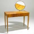 Gio ponti giordano chiesa walnut vanity with brass mirror c 1950 unmarked as shown 48 x 37 x 17 34 table 30 tall
