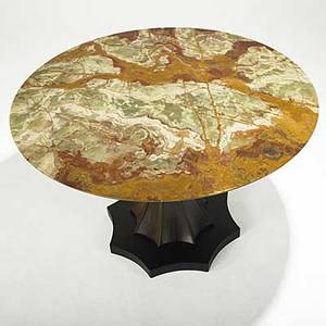 Italian modern rosewood center table with onyx top unmarked 30 x 47 14 dia