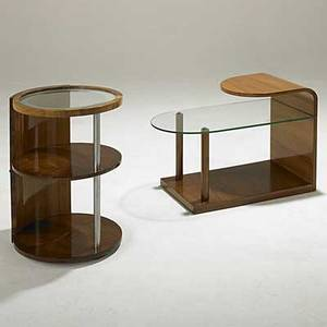 Art deco two walnut and glass occasional tables unmarked 26 x 17 dia and 22 x 29 x 14 34