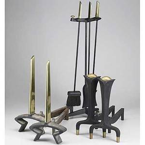 Donald deskey bennet brass and black enameled castiron fourpiece fireplace tool set and two sets of andirons raised bennet signature tallest andirons 19 12 x 8 34 x 18 12