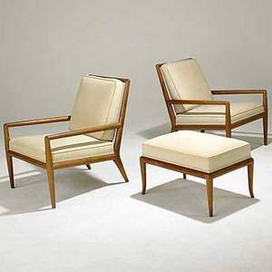 Th robsjohngibbings widdicomb pair of walnut lounge chairs with ottoman unmarked chair 31 x 26 x 33 ottoman 16 12 x 26 12 x 18
